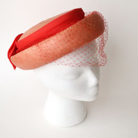 1960s Coral and Red Straw Hat with Bow and Veil Jonquil Originals