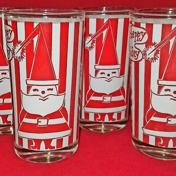 Vintage Holiday-Barware-Highball-Santa-Red-White-Stripes