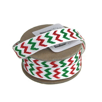 Glitter Chevron Holiday Christmas Satin Ribbon Wired Edge, 5/8-Inch, 9 Yards, Red/Green