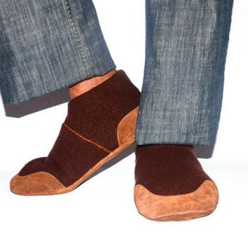 Men Cashmere Slippers, Eco Barefoot Shoes