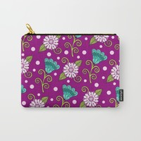 Floral Dot Motif Carry-All Pouch by Sarah Oelerich