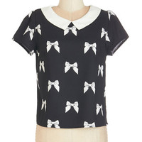 ModCloth Darling Short Length Short Sleeves Bows By Any Other Name Top