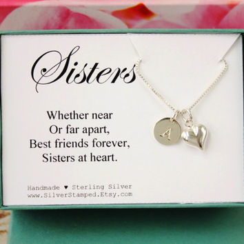 Sisters Necklace - Personalized Gift for Sister -  Sterling Silver Necklace with Heart Monogram Initial - Unique Gift Box - Sisters at Heart