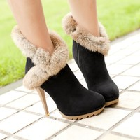 Black Gorgeous Cony Hair Closed Toe Lace-up Stiletto High Heel Short Boots