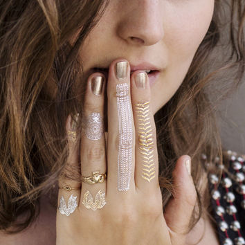 Gold Silver Jewels Temporary Tattoos