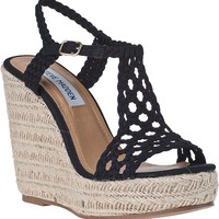 Steve Madden Manngo Wedge Espadrille Black Fabric - Jildor Shoes, Since 1949