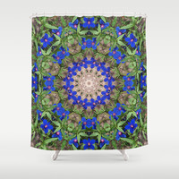 Peacock colors botanical mandala Shower Curtain by RVJ Designs