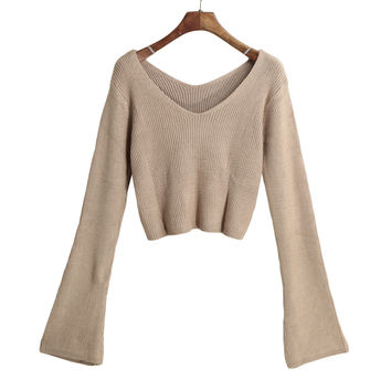 Women Knitted Crop Top Ladies Solid V Neck Sweater Long Flare Sleeve Casual Pullover Tops White Knitwear SM6