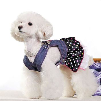 Petparty Sweet Heart Sequins Denim Dog Dress Dog Clothes