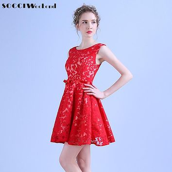 SOCCI  Short Cocktail Dresses Soiree Wine Red Lace mini Prom Dress Vestidos de girls Banquet Zipper Back Wedding Party Reception