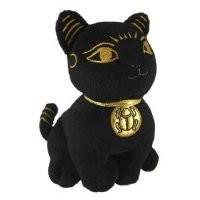 Black and Gold Bastet Cat Kitten Egyptian Stuffed Plush Doll