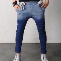 Low Crotch Baggy Skinny Draw String Jogg Jeans