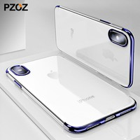 Pzoz for iphone x case thin luxury electroplating protective silicone rubber tpu ultra thin phonex 10 cases cover Capa clear