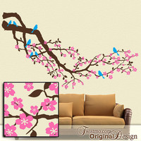 Over 8 Feet - Cherry Blossom Tree Branch with Birds