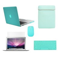 "TopCase Macbook Pro 13"" 13-inch (A1278/with or without Thunderbolt) 5 in 1 Bundle - Ultra Slim Light Weight Crystal Hard Case Cover + Matching Color Soft Sleeve Bag +Wireless Mouse + Silicone Keyboard Cover + LCD HD Clear Screen Protector -NOT FOR RETINA D"