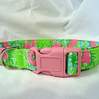 Lilly Pulitzer Pink Green Blue Rhino Fabric Dog Collar Custom Handmade from Pinkys Pet Gear on Etsy