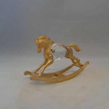 Manon Gold Rocking Horse With Crystal
