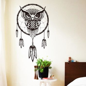 2016 Art Design Indian Dream Catcher Vinyl Owl home Decor Wall sticker cheap house decoration colorful Animal murals Decals