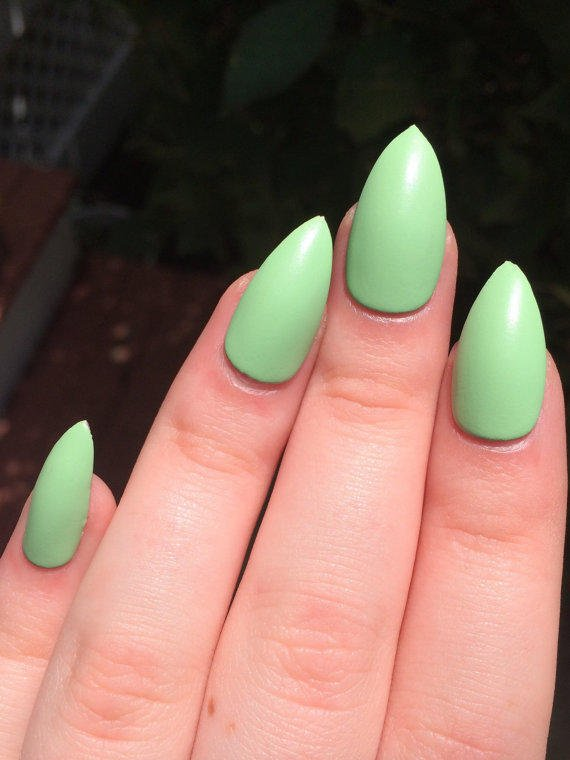 Fake Nails Matte Green From Nailsbykate On Etsy