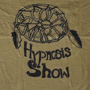 Vintage Yellow Scott Ward Hypnosis Show T-Shirt - XL Retro Hipster Tee