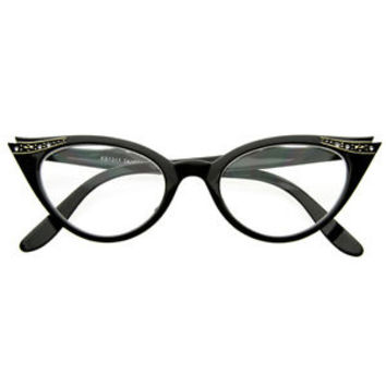 Vintage 1950s Inspired Fashion Clear Lens Cat Eye Glasses with Rhinestones 8434