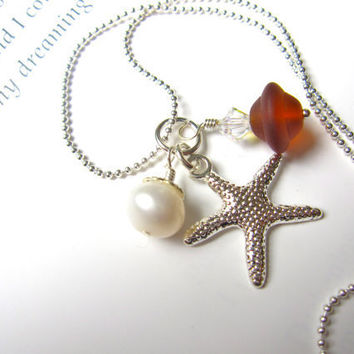 Brown Sea Glass Starfish Necklace with fresh water pearl - Bridesmaids Necklace for Fall Wedding - Perfect Autumn Jewelry