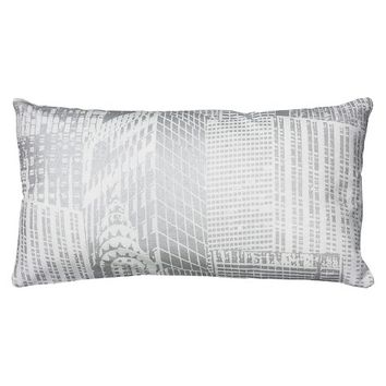 "Rizzy Home Printed Metallic Pattern Decorative Pillow - White/Silver (11""x21"")"