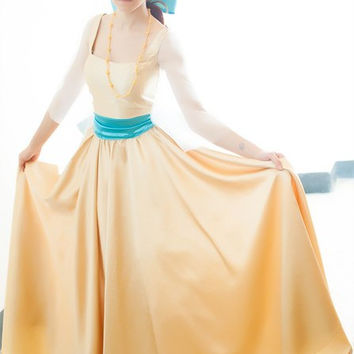 Anastasia Princess Costume Cosplay Movie Cartoon Yellow gold dress Russia Clothing