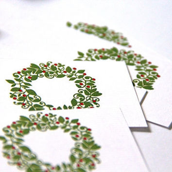 Holiday Gift Tags - CHRISTMAS BERRY WREATH - Handmade Gift Tag Set of 5