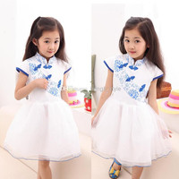 New Girls Children Cotton Blue And White Porcelain Lace TUTU Dress Girls Summer China Style Lace Dancing Dress 5 Pcs/lot Children's Dresses