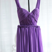 Purple Chiffon Bridesmaids Dress Sexy Open Back Prom Dress Gown V-neck Long Evening Dress Simple Homecoming Dress