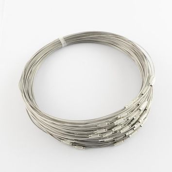 Stainless Steel Wire Necklace Cord Jewelry Findings for DIY Jewelry Making with Brass Screw Clasp 445x1mm