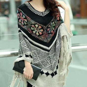Chicloth Ivory Sequined Christmas Snowflake Poncho Sweater