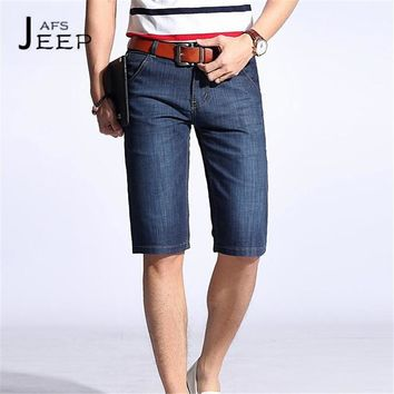 AFS JEEP Retail Price Man's Summer Knee Length Water washing Denim Bottom,Dark Blue Double Back Pockets Man Cargo Straight Jeans