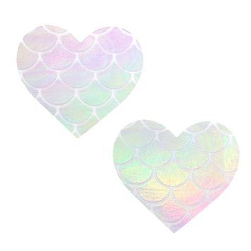 Neva Nude Mystical Mermaid Iridescent Holographic Heart Pasties