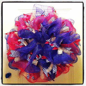Deco Mesh Wreath: Red, White, Blue