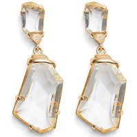 Polished Crystal Drop Clip-On Earrings