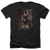 Adult Batman Vs Superman/WW Poster Heathered Short Sleeve