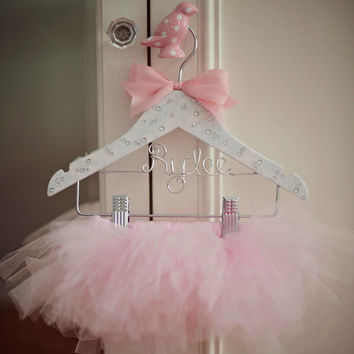Tutu, Tutu Hanger, Childrens Hanger, Flower Girl Gift, Baby Hanger, Personalized Hanger, Bling Hanger, Little Girls Hanger, Tutu Display