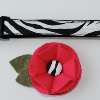 Zebra Print Dog Collar with Removable Felt Flower