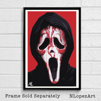 "Ghostface from Scream Illustration, Horror Movie Pop Art, Halloween Home Decor Poster, Scary Film Print Size 11""x17"""