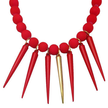 Red Hot Spike Necklace - Be Bold - Punk Rock Jewelry - Friendship Gifts - Colorful Jewelry