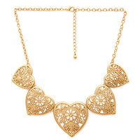 FOREVER 21 Heart Filigree Bib Necklace Gold One