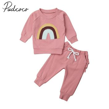 2019 Baby Spring Autumn Clothing Newborn Baby Girl Long Sleeve Rainbow Patch Tops Shirts Ruffle Leggings Pants Warm Clothes 0-3T