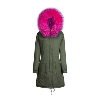 Raccoon Fur Collar Parka Jacket Fuchsia 3/4