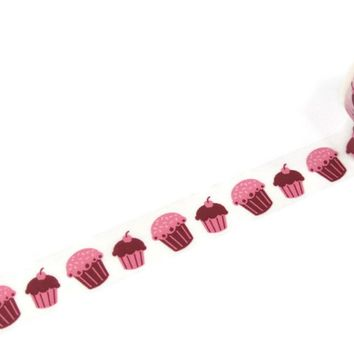 Pink cupcakes 15mm washi tape / 10M