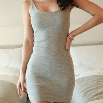 Light Gray Spaghetti Strap Sleeveless Mini Dress