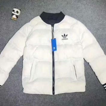 """Adidas"" Women Men Fashion Zip Cardigan Long Sleeve Thickened Cotton-padded Clothes Jacket Coat White I-A001-MYYD"