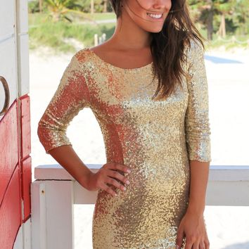 Gold Sequin Short Dress with 3/4 Sleeves
