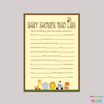 safari baby shower mad libs printable baby shower advice cards